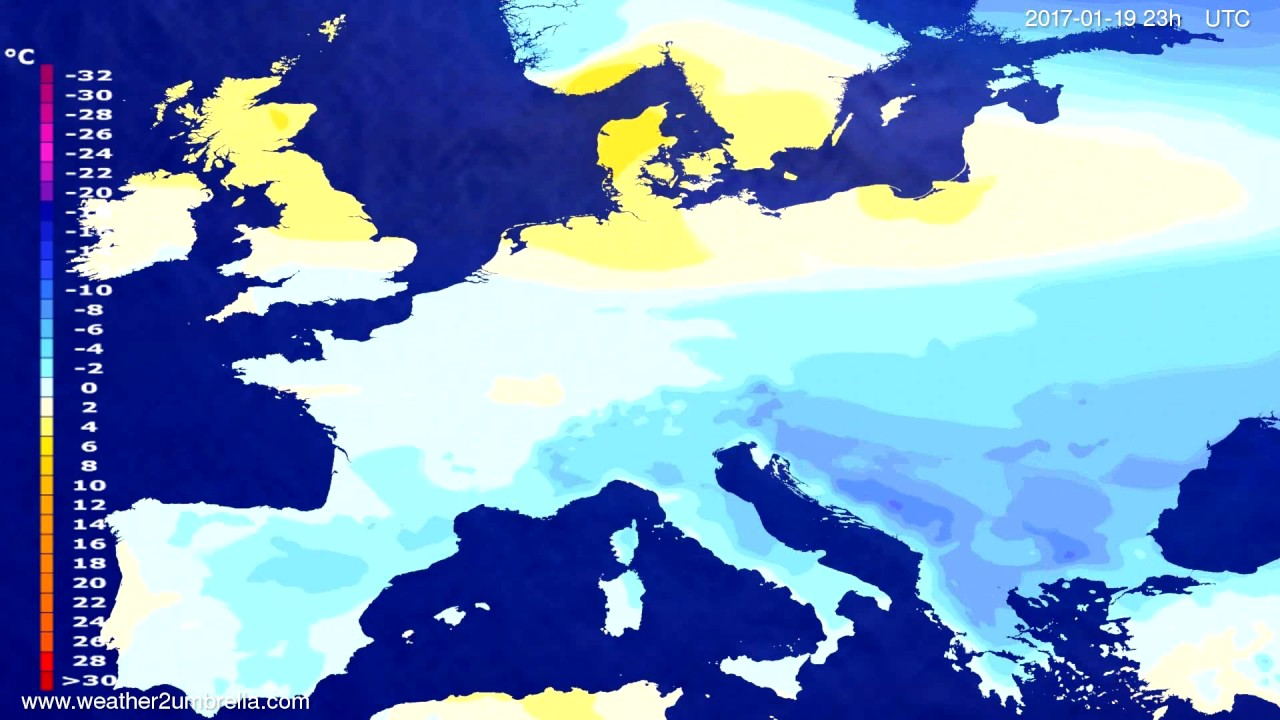 Temperature forecast Europe 2017-01-16