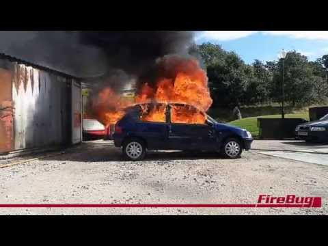 MistNozzle car fire - replicating an arson attack the MistNozzle performs rapidly!