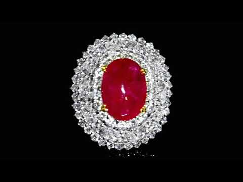 Rare 15.00ct Intense-Red Burma Cabochon Ruby and Diamond Ring