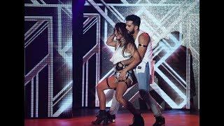 Lourdes Sánchez y Gabo Usandivaras innovaron con un reggaetón acrobático y fuera de la pista