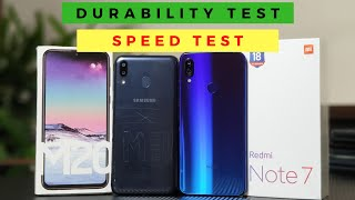 Redmi Note 7 vs Samsung Galaxy M20 Speed Test | DURABILITY Test Update (DROP, BEND, WATER) [Hindi]
