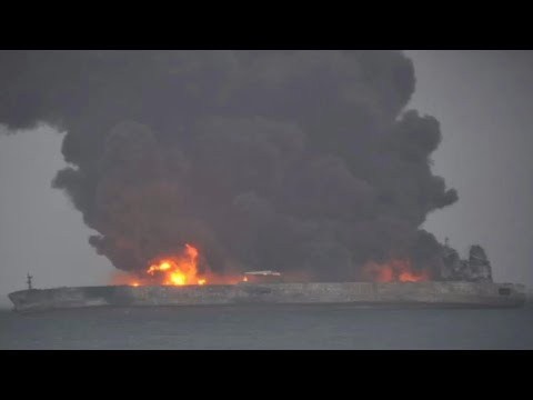 Oil tanker ablaze following collision with ship off coast of China