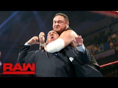 Samoa Joe traps Paul Heyman in the Coquina Clutch: Raw, June 5, 2017