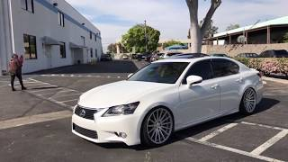 During my time with Lexus & VIP Auto Salon at Apexi during the #RCREALTIME shoot,  I managed to shoot this short clip of Jun's GS lowered on RS-R Super Down's on Vossen VFS-2 wheels. He is one of the few people that is running the mid-concave 20x9.5 up front on the GS. He needed to make some fender adjustments to make it work but it looks incredible. Jun's GS 350 was also featured in our booth during SEMA 2014.