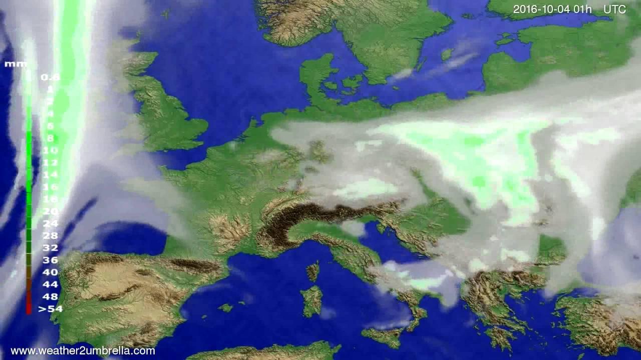 Precipitation forecast Europe 2016-10-01