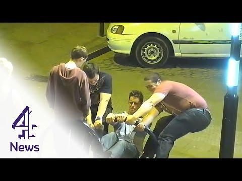 CCTV shows drunken group at 3am figuring out a way to fix a broken bike rack.