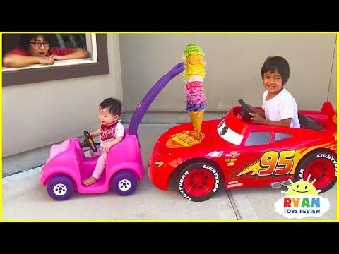 Ryan's Drive Thru Pretend Play Restaurant on Kids Power Wheels!!!