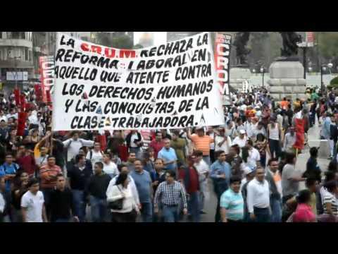 Marcha de la CROM en contra de la Reforma a la Ley Federal del Trabajo