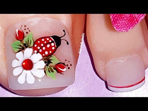 Decoración de uñas mariquita y margarita/Diseño de uñas mariquita/uñas decoradas con  margarita