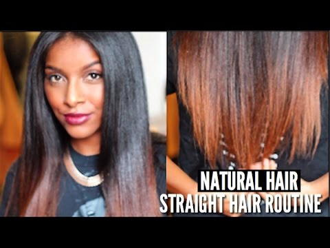 Hair - START TO FINISH : STRAIGHTENING MY NATURAL HAIR! Wash, Blow Dry, Flat Iron & Trim! Thumbs Up for more hair tutorials. Stratening my hair using the chase method always provides me we sleek ...