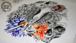 Video Guardian Angel Half Sleeve Tattoo Design - Speed Drawing MP3, 3GP, MP4, WEBM, AVI, FLV Agustus 2018