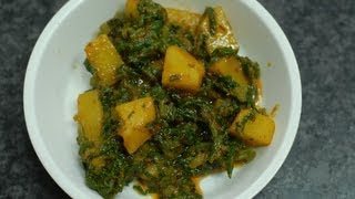 Oily Spinach potatoes - Aloo Palak - By Vahchef @ vahrehvah.com