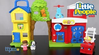 Little People Animal Rescue from Fisher-Price! With lights and sounds! 4 figures and 2 vehicles included! Animal theme, firefighter, and more.  For kids 1-5! TTPM reviews this cute toddler play set! For full review and shopping info► https://ttpm.com/p/23759/fisherprice/little-people-animal-rescue/?ref=ytProduct Info: The Little People Animal Rescue from Fisher-Price is a cute play set that has lights and sounds, and comes with four figures - Mia, and Firefighter Rob, a dog, and a cat. Two vehicles with friendly faces, a helicopter and a fire truck, are also included. The interactive play set has a pet adoption center, a tree, and a fire station with a vet's office. It has a lot of features for little ones to explore and discover. Kids can press the red Discovery Button to activate the firehouse light, and fun songs, and phrases about animals, vets, rescues, and more. The same button will also send the fire truck into action. Kids can also place the helicopter on its pad, and turn the crank to spin the propellers, and activate more sounds, songs, and phrases. The inside of the pet adoption center has a tub with a lever to press down to pretend to soap up the animals. Little animal lovers can help the kitty when it gets stuck in a tree, and then take her to the vet to make sure she's OK. They can give the dog a bath, or help firefighter Rob save the day. This is a well made play set designed for kids ages 1-5 years old to engage in hands on, imaginative play. It folds up for easier storage, and features a handle. Two AA batteries are included and an ON/OFF switch is located underneath. ✮SEE MORE TOYS✮ARTSPLASH 3D LIQUID ART:https://ttpm.com/p/23570/mattel/artsplash-3d-liquid-art/?ref=ytDC SUPER HERO GIRLS FROST:https://ttpm.com/p/23551/mattel/dc-super-hero-girls-frost/?ref=ytMARVEL SPIDER-MAN SWING AND SLING SPIDEY: https://ttpm.com/p/23125/just-play/marvel-spiderman-swing-and-sling-spidey/?ref=yt✮SUBSCRIBE TTPM Toy Reviews✮https://www.youtube.com/c/ttpm✮SUBSCRIBE TT