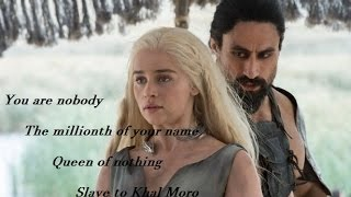 Daenerys meets the Khal Moro, after finding out she's the widow of Khal Drogo, he says she must go to Vaes Dothrak.