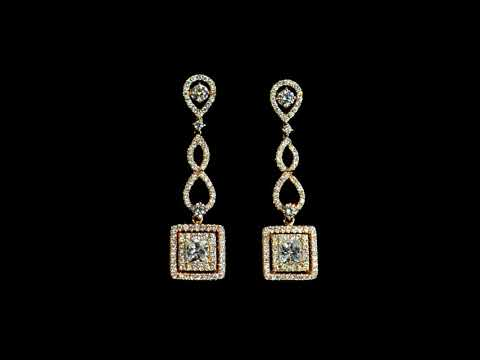 Lady's 18k Rose Gold Diamond Dangling Earrings