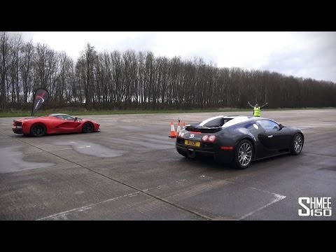 laferrari vs bugatti veyron - breathtaking race