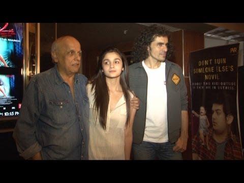 Alia, Mahesh Bhatt, Imtiaz Ali At Screening Of Film 'Highway'