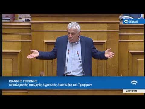 Ι.Τσιρώνης (Αν.Υπουργός Αγροτ.Ανάπτυξ.και Τροφ.)(Πρόταση δυσπιστίας κατά της Κυβέρνησης)(15/06/2018)