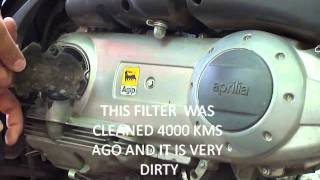 10. Transmission air filter cleaning Aprilia sportcity cube 125