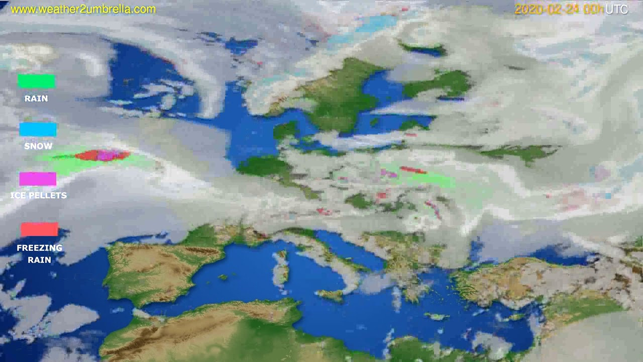 Precipitation forecast Europe // modelrun: 00h UTC 2020-02-23