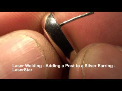 <h3>Laser Welding - Silver Earring Post </h3>In this laser welding video, the laser welding operator demonstrates how easy it is to add a post to a sterling silver earring using a LaserStar laser welding system.<br><br>