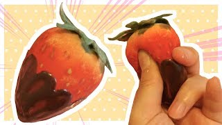 [English subs] DIY EASY Homemade Squishy - Strawberry Chocolate Squishy with beauty blender