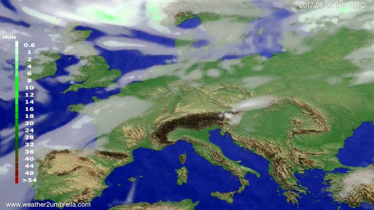 Precipitation forecast Europe 2017-08-01