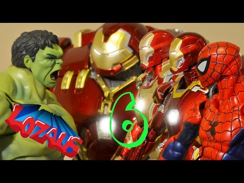 IRONMAN STOP MOTION Part 6 With SUPER HEROES SPIDERMAN, HULK & HULKBUSTER
