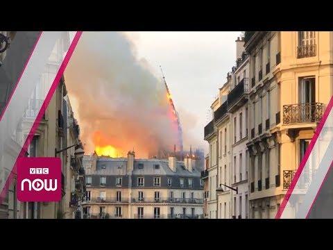 Giây phút ngọn tháp Nhà thờ Đức Bà Paris sụp đổ | VTC Now - Thời lượng: 0:51.