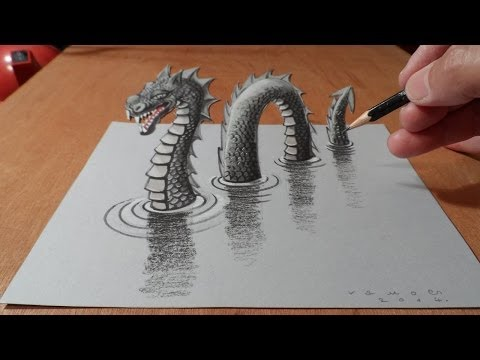 Loch - The legend is back! Anamorphic illusion a 3D Loch Ness Monster. Monster on paper. Realistic Loch Ness Monster drawing. Speed drawing. How to draw 3D Loch Ne...