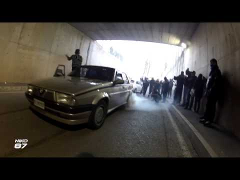 incredibile burnout con un'alfa 75