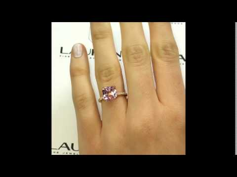 Lauren B Gem Collection: Cushion Cut Morganite Ring in Rose Gold