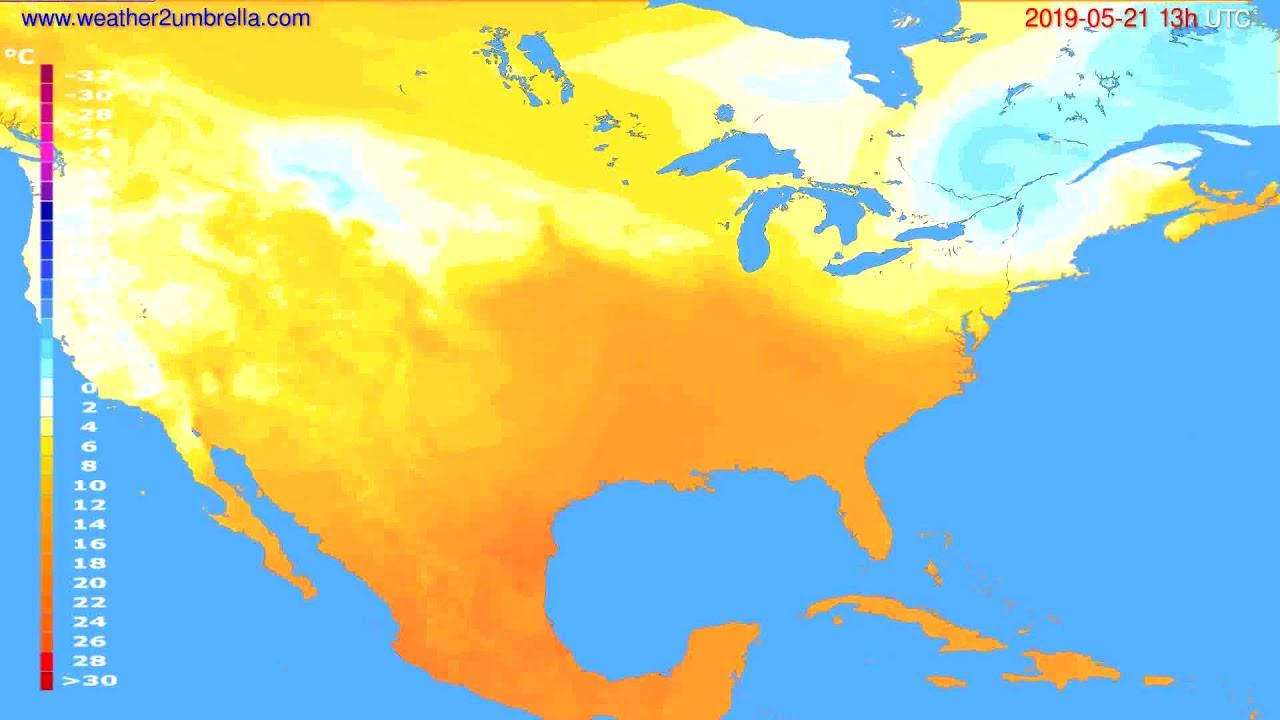 Temperature forecast USA & Canada // modelrun: 12h UTC 2019-05-19