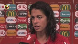 Vilda, Torrejón, Amanda y Vicky Losada, tras el triunfo ante Portugal