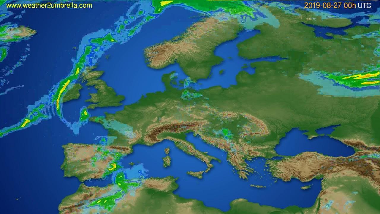 Radar forecast Europe // modelrun: 12h UTC 2019-08-26