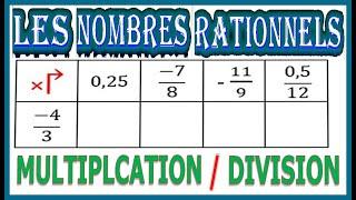Maths 3ème - Les nombres rationnels Multiplication et Division Exercice 6