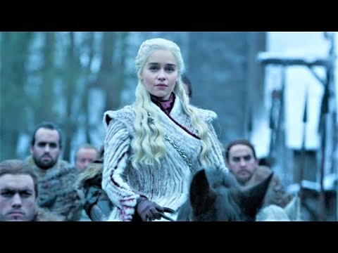 Game of Thrones 8x02 Daenerys and Jon Snow arrives Winterfell with Dragons Scene HD