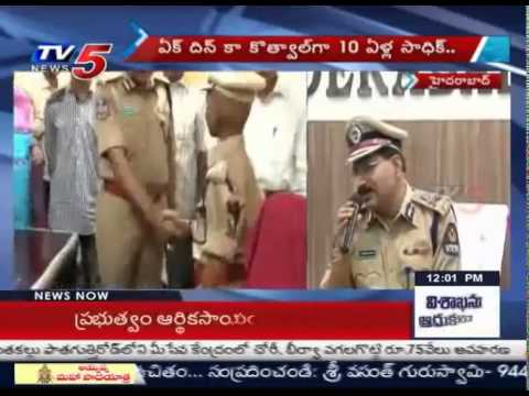 10 Yr Old  Boy Appointed as Hyderabad Commissioner | Make a Wish Foundation  : TV5 News