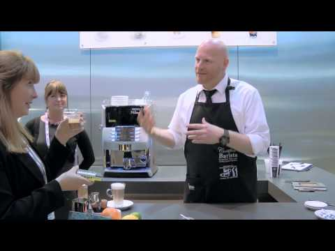 Coffee - http://www.foodbev.com -- Master barista Ola Persson demonstrates his skills on the Nescafé Professional stand at Avex 2013. Watch him create his own version...