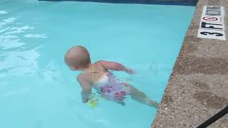 Incredible Baby Swims Across Pool