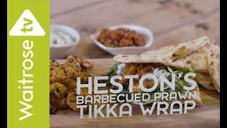 Heston Blumenthal makes a delicious wrap with spicy marinated prawns, tomato salsa and a cooling raita.  See the full recipe  http://www.waitrose.com/content/waitrose/en/home/recipes/recipe_directory/h/heston-s-barbecuedprawntikkawraps.htmlTwitter  http://www.twitter.com/waitroseFacebook  http://www.facebook.com/waitroseInstagram  http://www.instagram.com/waitrose Pinterest  http://www.pinterest.com/waitroseMore great recipes, ideas and groceries  http://www.waitrose.com