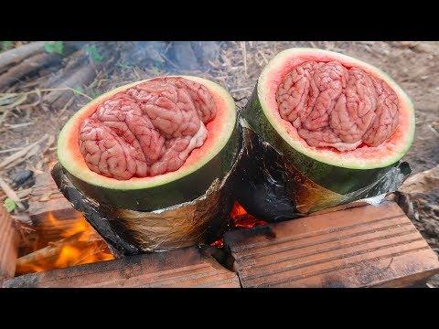 Óc Heo Hầm Trong Trái Dưa Hấu - Cooking and Eating Pig Brain in Watermelon - Thời lượng: 14 phút.