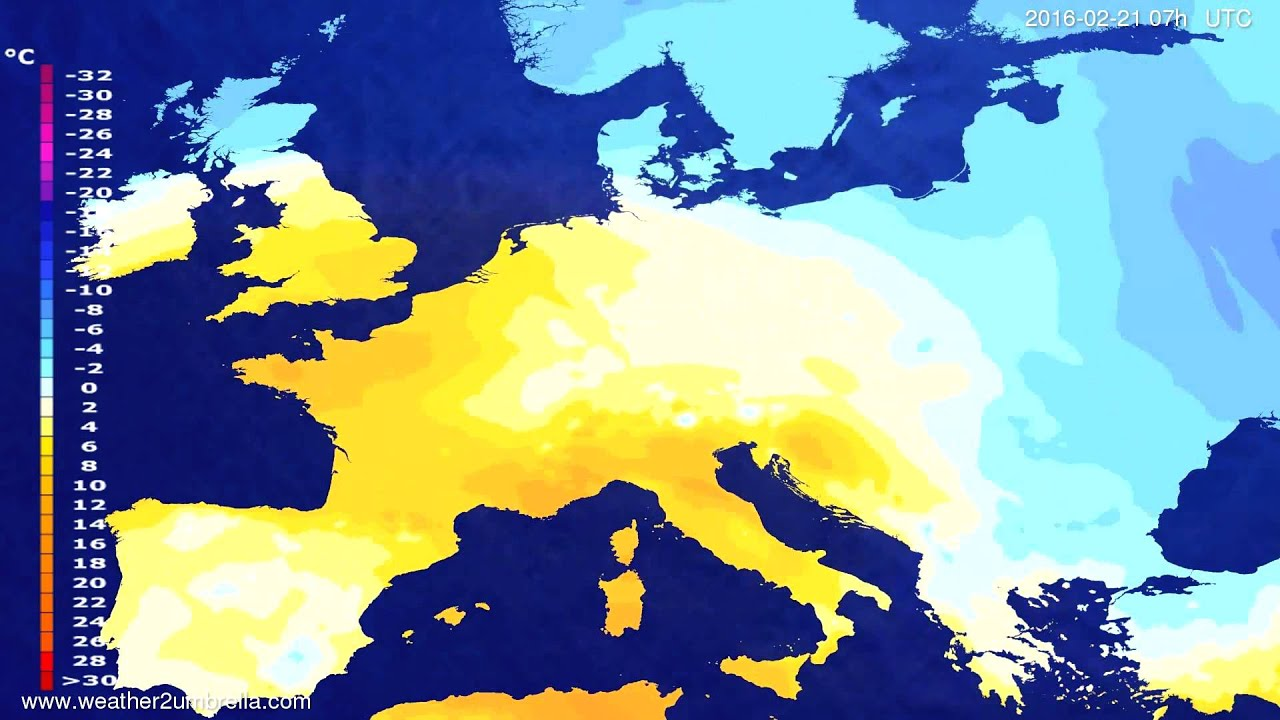 Temperature forecast Europe 2016-02-17