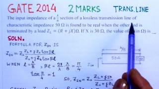 Video Solution to GATE 2014 Problem -Transmission Lines - Electromagnetics