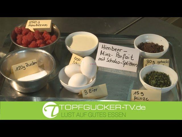 Himbeer–Minz– Parfait | Teil 2 | Dessert Mandel Honig Hippe schokolierte Früchte