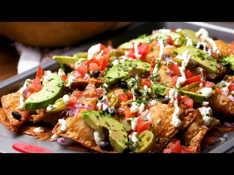 How To Make Cheesy Stuffed Wonton Nachos • Tasty