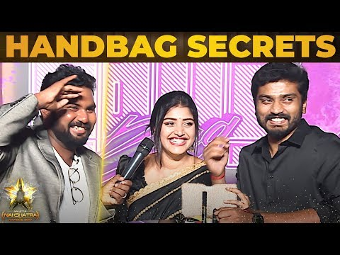 Sidhu & Shreya Anchan - Handbag Secrets Revealed At Galatta Nakshatra Awards 2019 |Thirumanam Serial