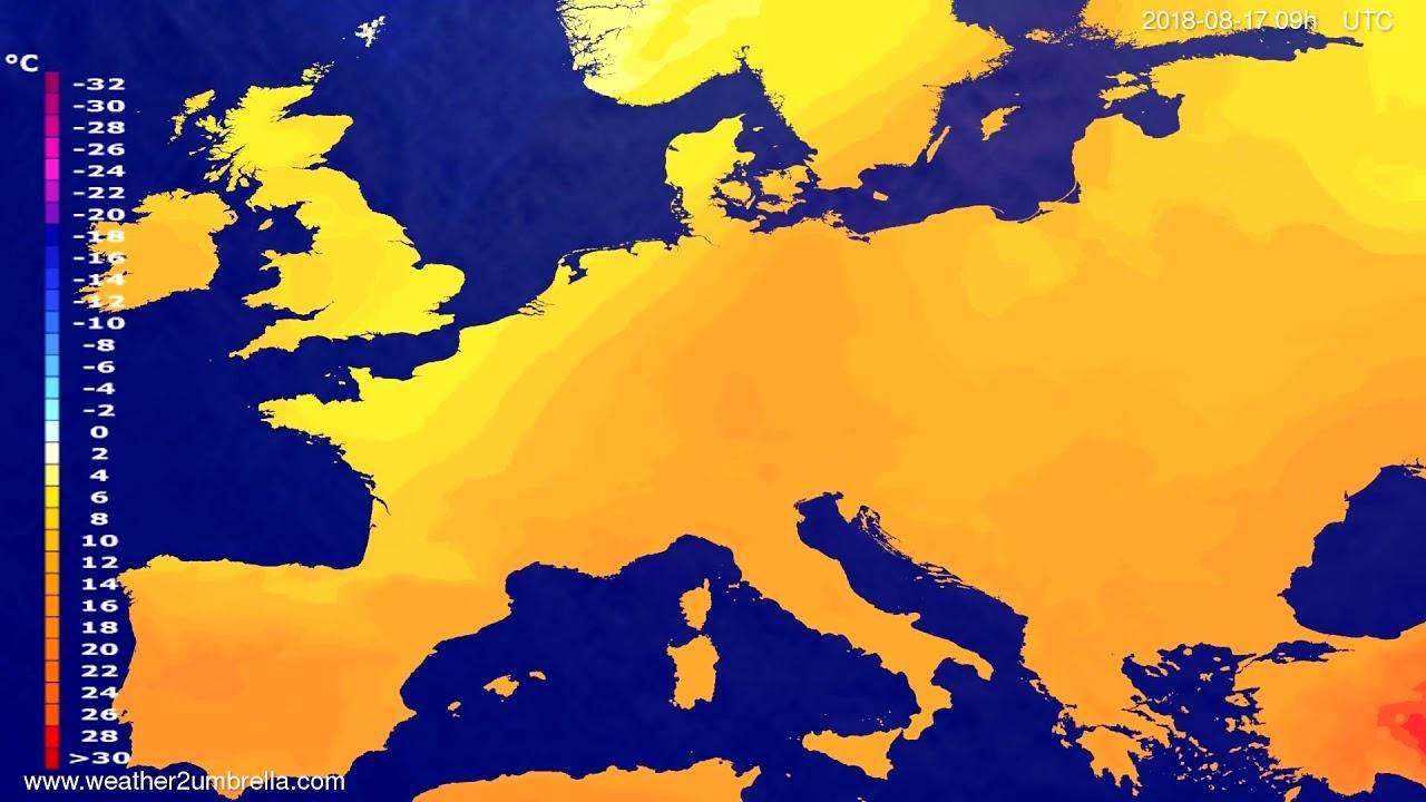 Temperature forecast Europe 2018-08-13