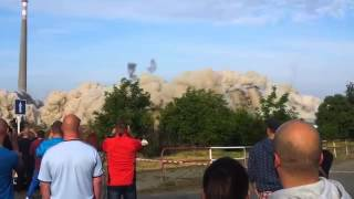Guy Gets Almost Killed By Rock Flying From Demolition - Damn Lucky!