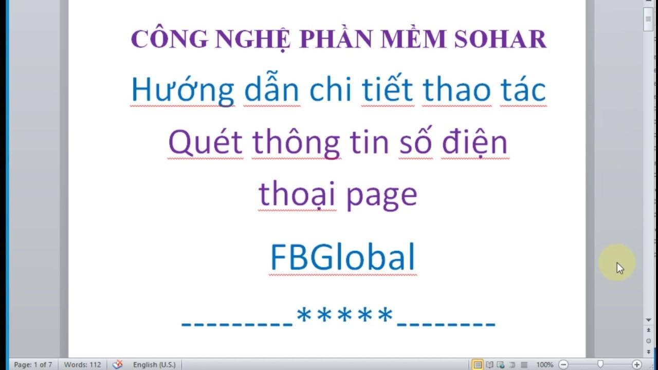 Phần mềm quét số điện thoại di động và email tích hợp FBGlobal